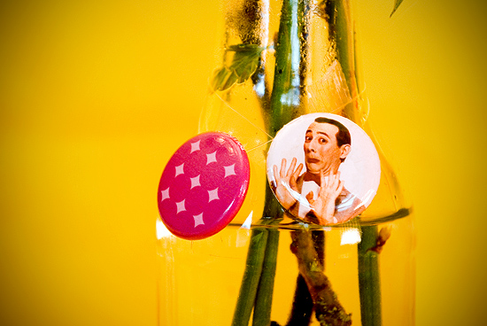 Peter Hoang & Nerissa Goco : Glass Bottle Vase w/ Pee Wee Herman Pin